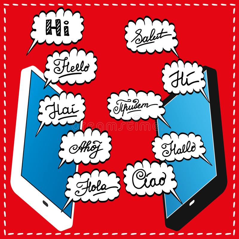 Telefone dois esperto e olá! em línguas diferentes na nuvem da garatuja ilustração stock