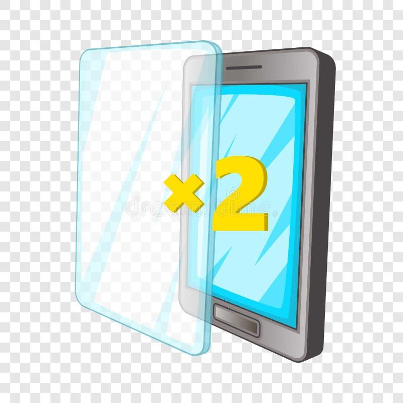 Telefone e ?cone de vidro adicional, estilo dos desenhos animados ilustração do vetor