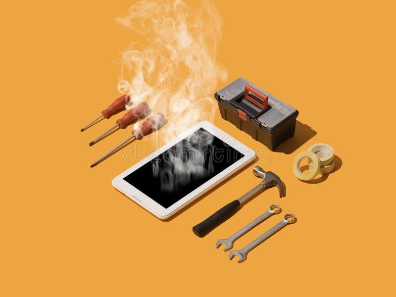 Telefone e serviço de reparações digital dos dispositivos ilustração stock