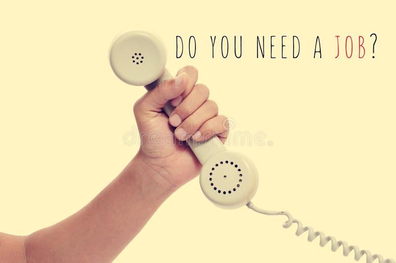 Telefone e texto você precisa um trabalho? com um efeito retro foto de stock