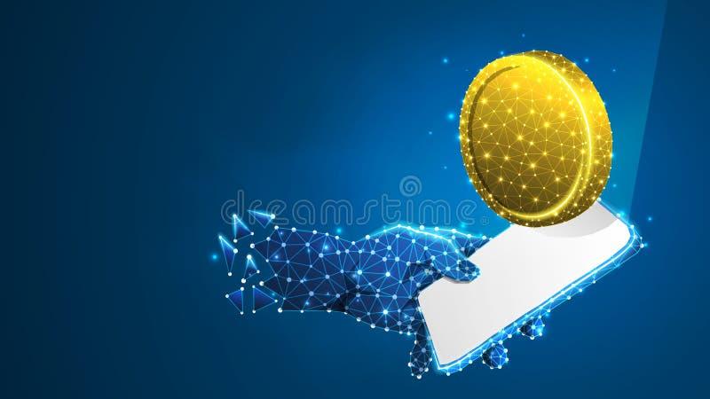 Telefone em uma mão com a moeda dourada na tela móvel branca Dinheiro, conceito da aplicação do investimento Sum?rio, digital, wi ilustração royalty free