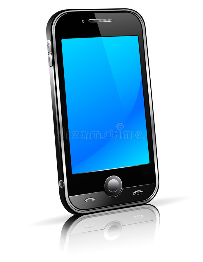 Telefone esperto 3D da pilha ilustração do vetor