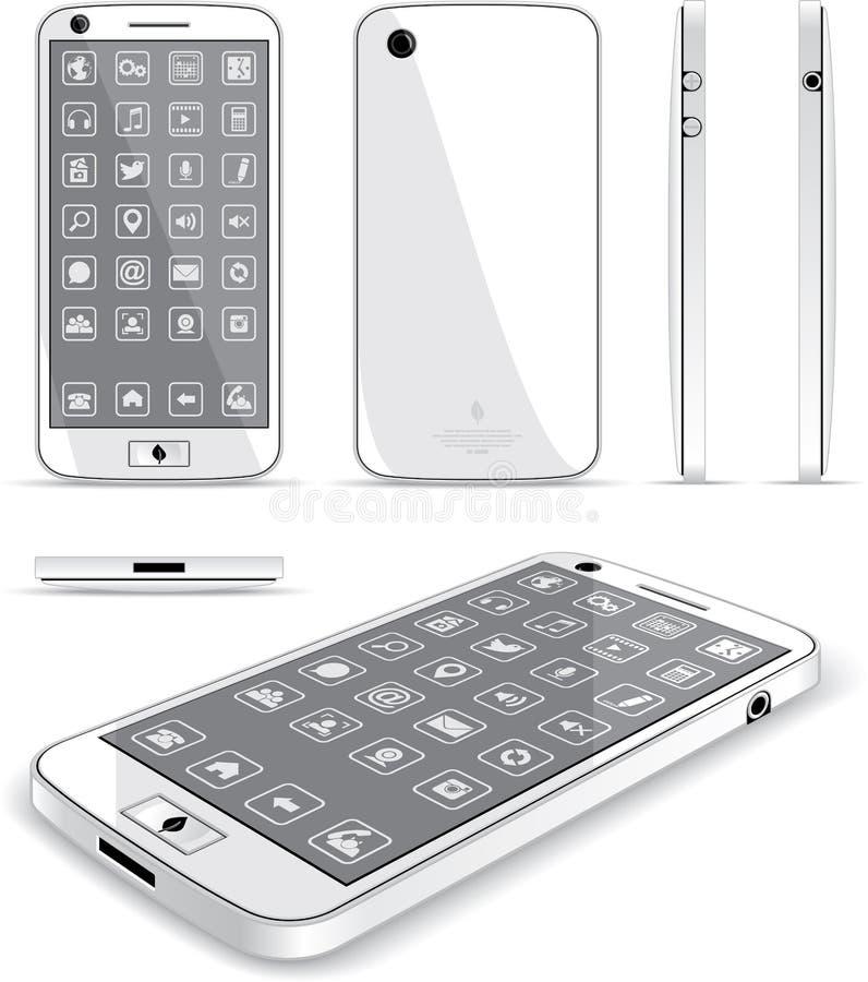 Telefone esperto branco - vistas múltiplas ilustração royalty free