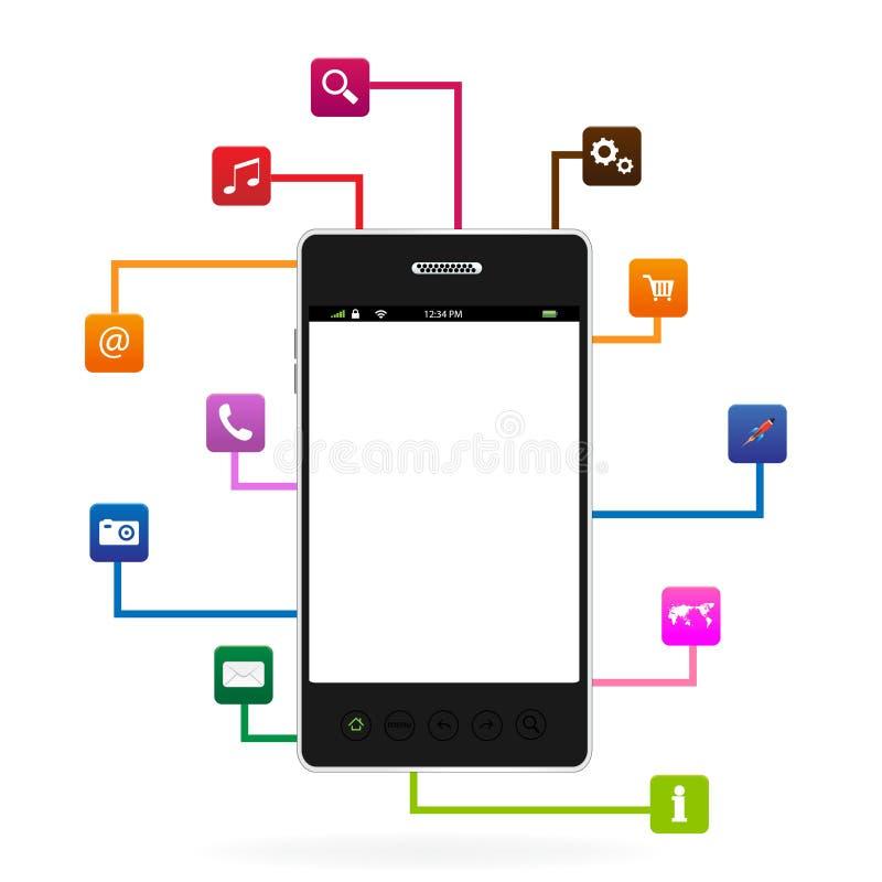 Telefone esperto com ícone do App ilustração royalty free