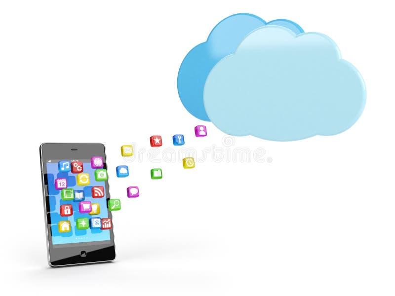 Telefone esperto com ícones do app ilustração do vetor