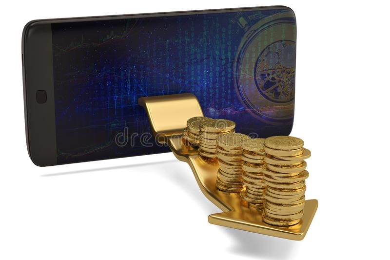 Telefone esperto com as pilhas da moeda de ouro na seta ilustração 3D ilustração royalty free