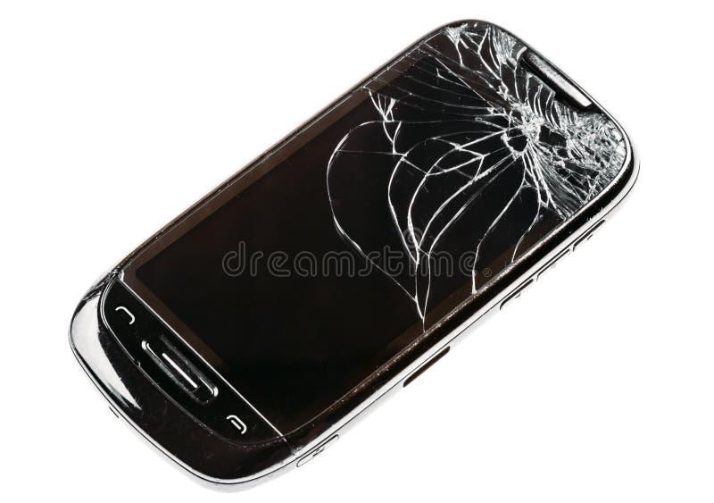 Telefone esperto com a tela quebrada rachada isolada sobre Backg branco imagem de stock royalty free
