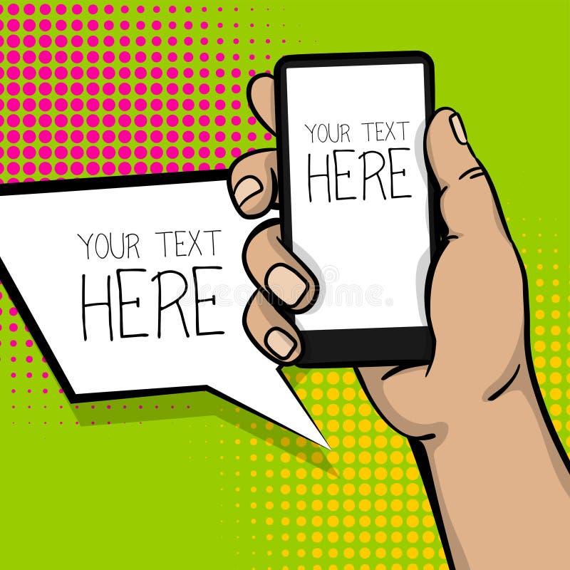 Telefone esperto da mão do homem dos desenhos animados do pop art ilustração royalty free