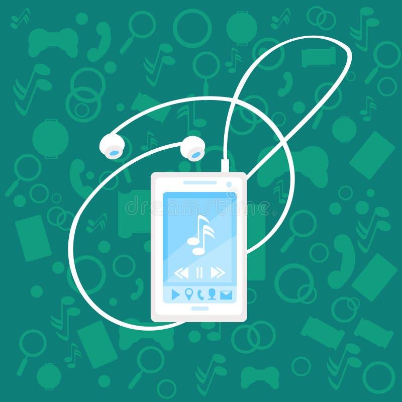 Telefone esperto da pilha com fundo móvel abstrato moderno da aplicação do jogador de música dos fones de ouvido ilustração royalty free