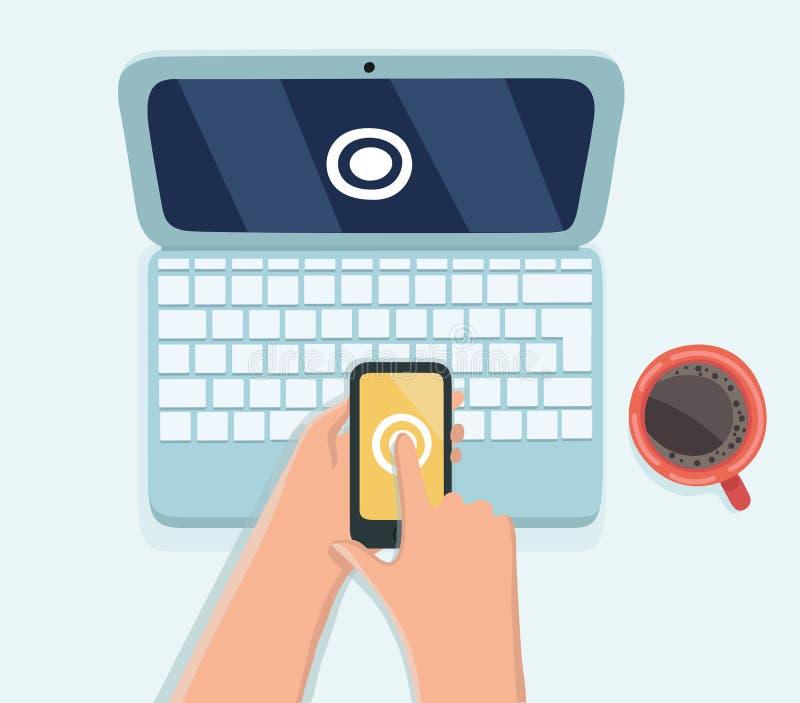 Telefone esperto da posse humana da mão com código dos sms para o fazer logon o sistema na senha do portátil do computador proteg ilustração royalty free