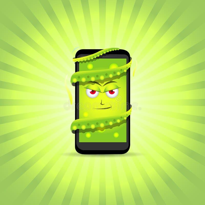 Telefone esperto do vírus Caráteres espertos do telefone Ilustração do telefone do vetor Desenhos animados espertos do telefone ilustração do vetor