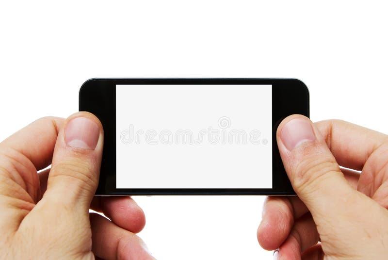 Telefone esperto em branco com trajeto de grampeamento fotos de stock
