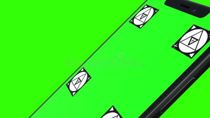 Telefone esperto isolado com tela verde ilustração royalty free