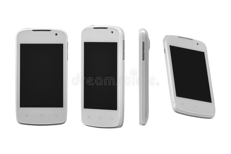 Telefone esperto móvel branco em quatro posições Para o projeto de jogo, apresentação móvel da aplicação do smartphone Este model imagens de stock