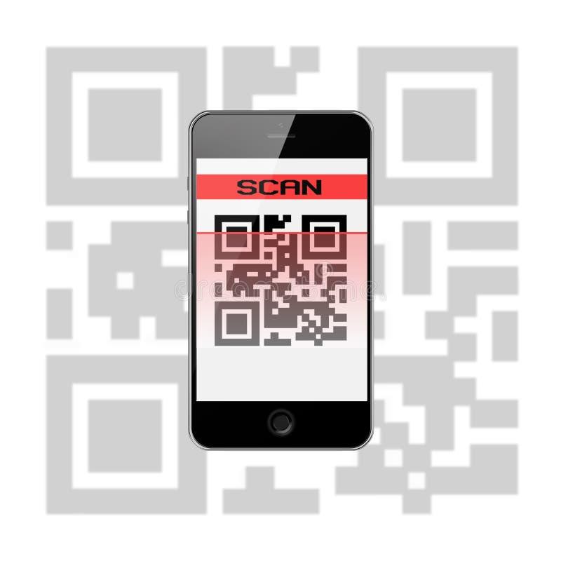 Telefone esperto móvel com código de QR isolado no fundo branco ilustração do vetor