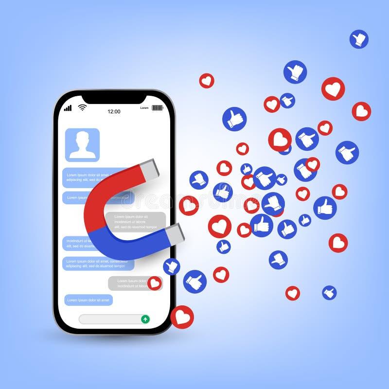 Telefone esperto móvel com o ímã que atrai corações e gostos Media sociais que introduzem no mercado o conceito ilustração do vetor