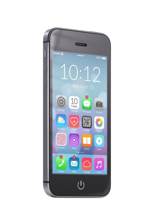 Telefone esperto móvel moderno preto com ícones coloridos da aplicação ilustração stock