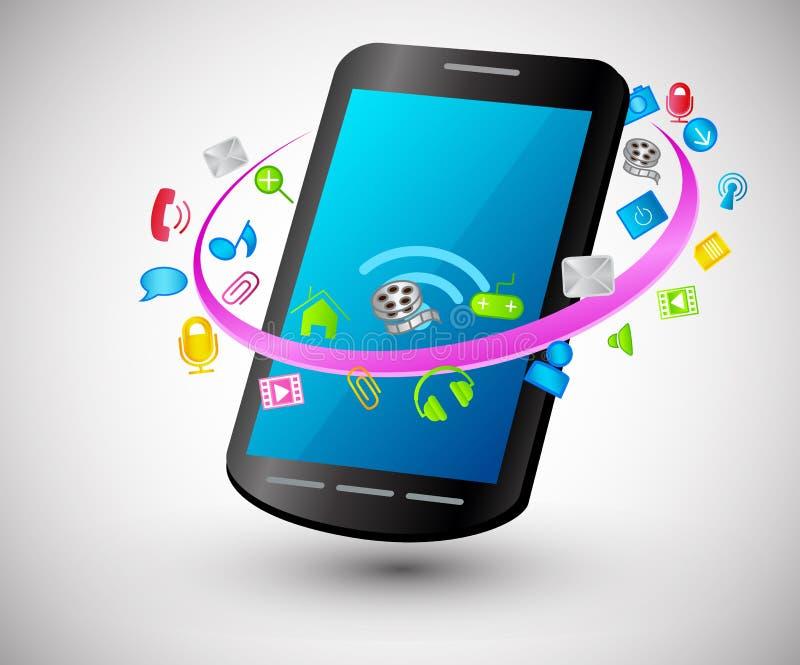 Telefone esperto moderno com ícones do Internet ilustração royalty free