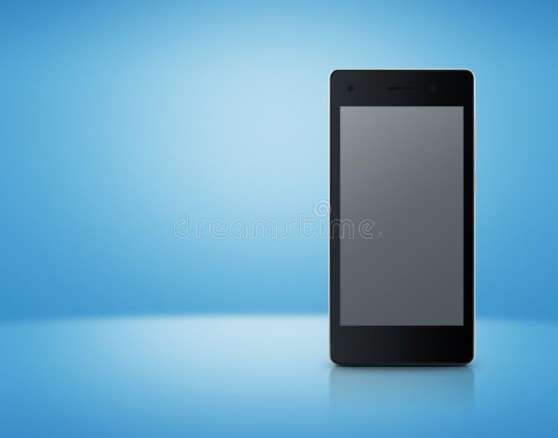 Telefone esperto moderno com a tela cinzenta vazia na luz - backgrou azul foto de stock