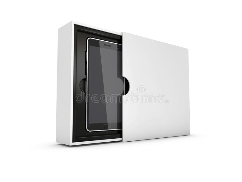 Telefone esperto moderno na caixa Tela preta para o modelo, branco isolado ilustração 3D ilustração do vetor