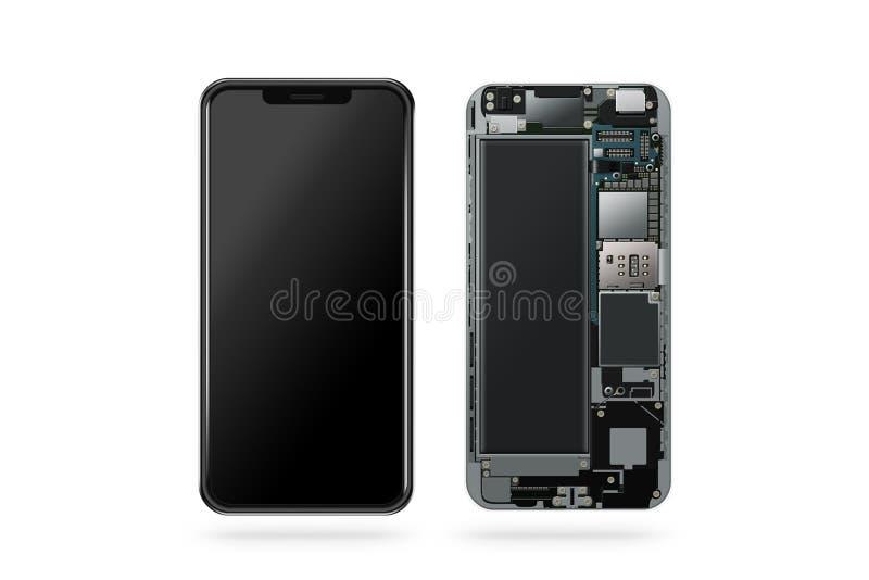 Telefone esperto moderno novo para dentro, microplaqueta, cartão-matriz imagens de stock royalty free
