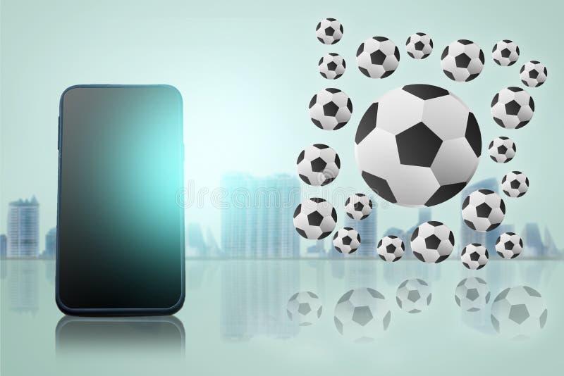telefone esperto no fundo obscuro da cidade com competiam 2 do futebol ilustração royalty free