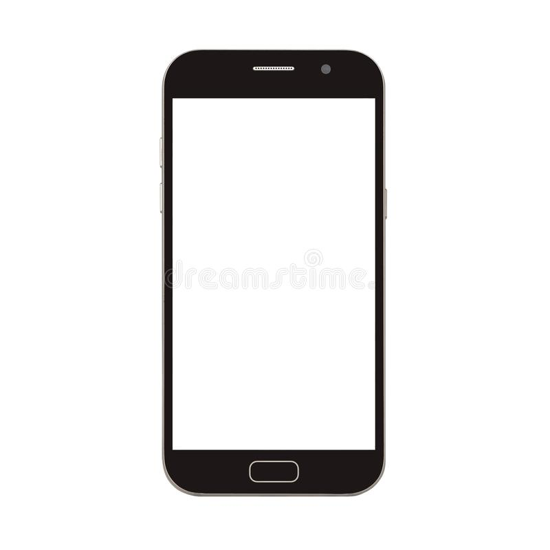 telefone esperto preto com a tela vazia isolada no branco imagem de stock royalty free