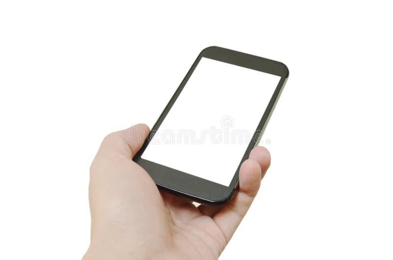 telefone esperto que realiza disponível no fundo branco imagem de stock royalty free