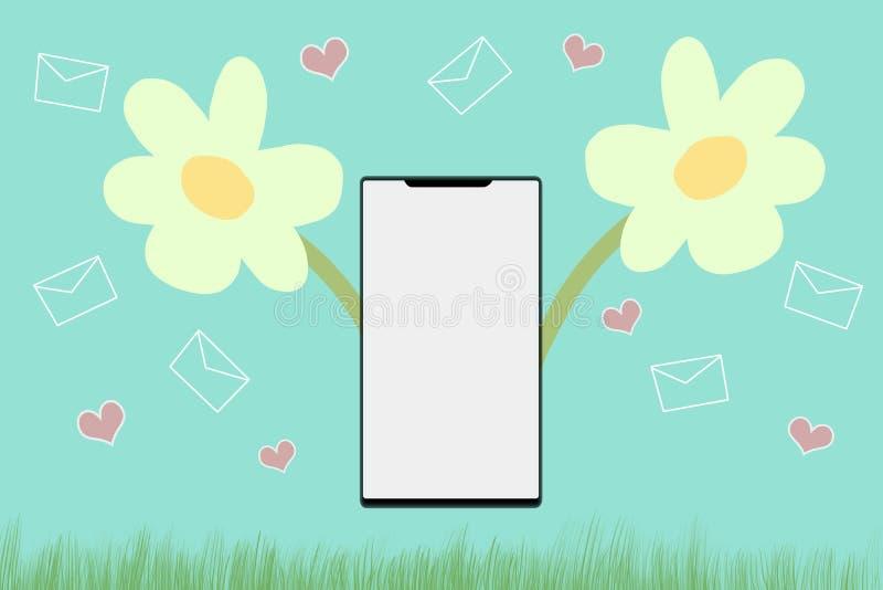 Telefone esperto sobre o fundo colorido com tela vazia Conceito da propaganda da tecnologia ilustração royalty free