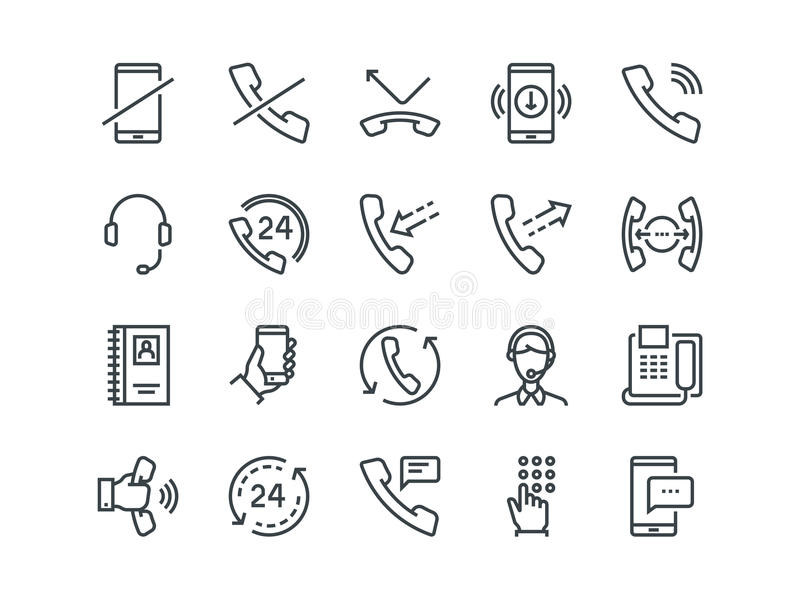 telefone Grupo de ícones do vetor do esboço Inclui como chamadas, o apoio em linha, o telefone celular e o mais Curso editável ilustração royalty free