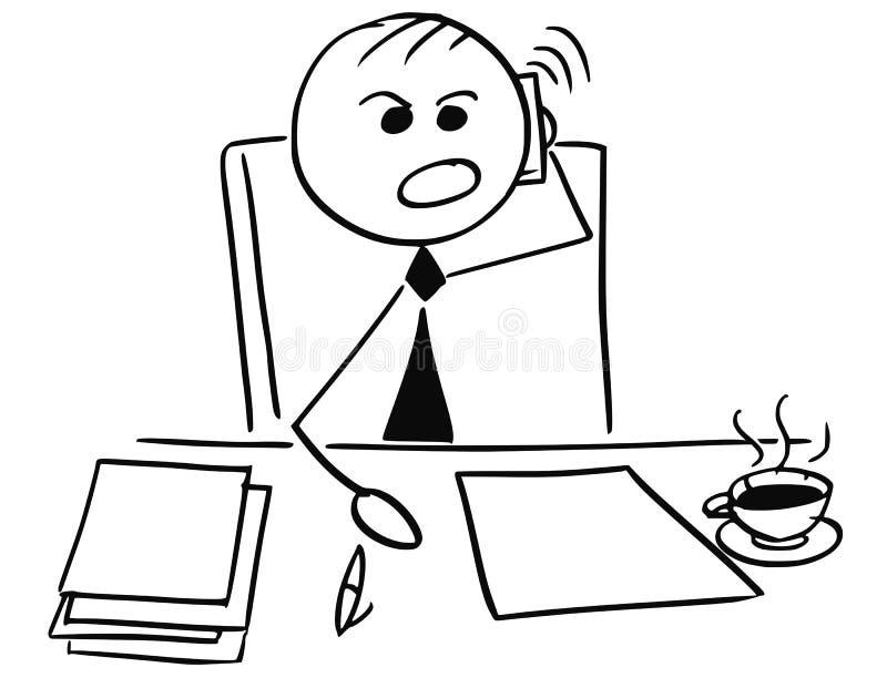 Telefone irritado de Boss Using Mobile do gerente do homem de negócios a chamar ilustração royalty free