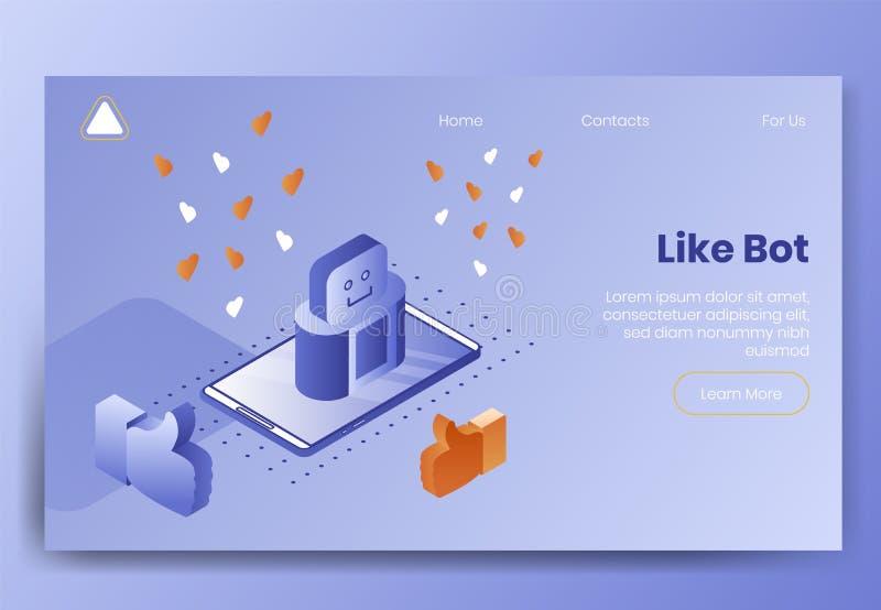 Telefone isométrico de cena-Smart do conceito de projeto de Digitas e símbolos sociais para o bate-papo móvel, como o bot, interf ilustração stock