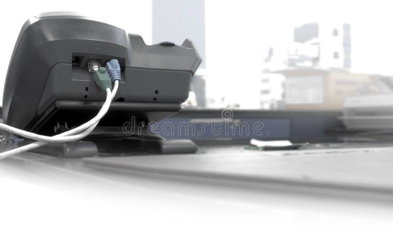 Telefone a linha do fax dentro e para fora no escritório fotografia de stock royalty free