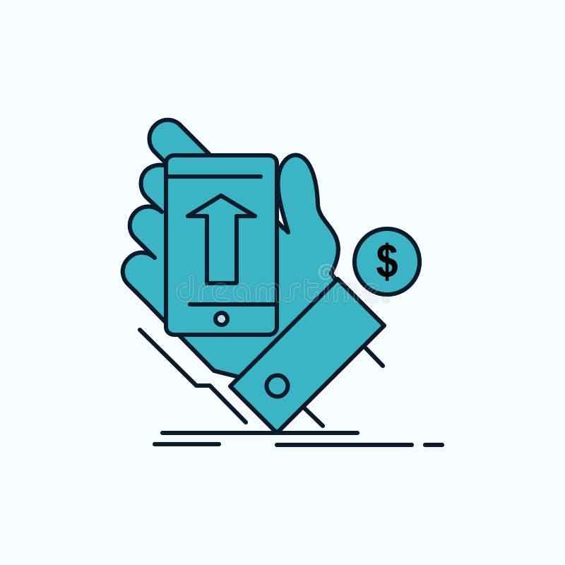 telefone, mão, compra, smartphone, ícone liso da moeda sinal e s?mbolos verdes e amarelos para o Web site e o appliation m?vel Ve ilustração royalty free