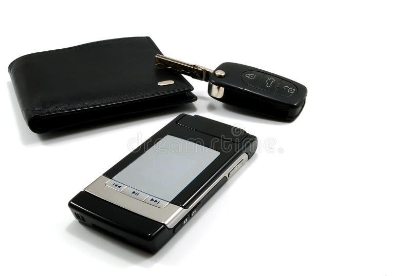 Telefone móvel 3 da chave preta do carro da carteira foto de stock