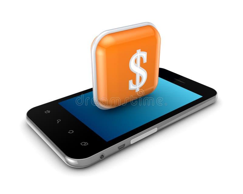 Telefone móvel com ícone do dólar. ilustração stock