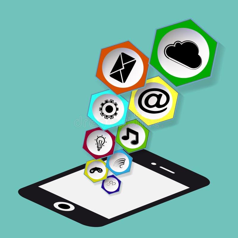 Telefone móvel com ícones ilustração do vetor