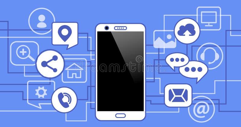 Telefone móvel com ícones Conceito de uma comunicação na rede ilustração stock