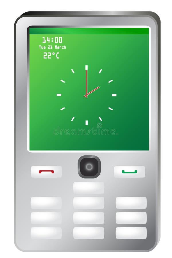 Telefone móvel com o pulso de disparo na tela verde ilustração stock