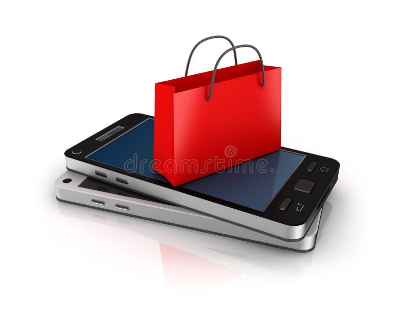 Telefone móvel com saco de compras. Conceito em linha da compra. ilustração do vetor