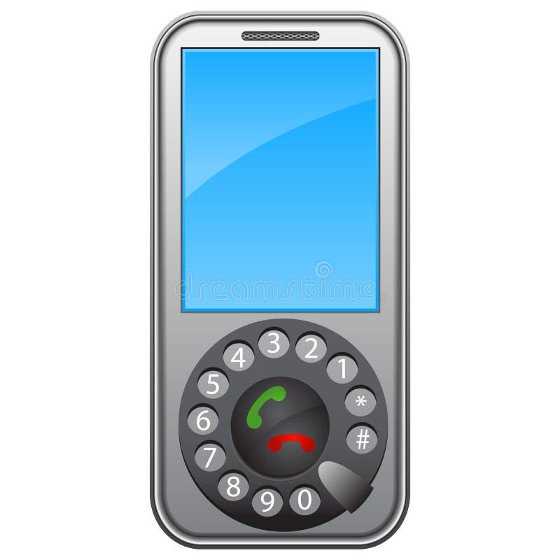 Telefone móvel com um disco ilustração royalty free