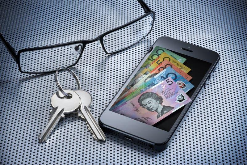 Telefone móvel da carteira do dinheiro de Digitas foto de stock royalty free