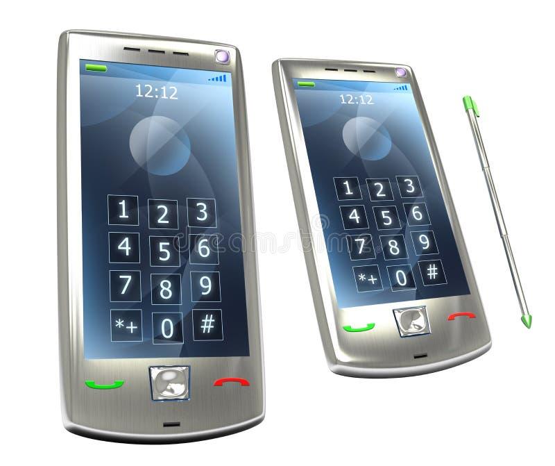 Telefone móvel do pda 3G com estilete ilustração do vetor