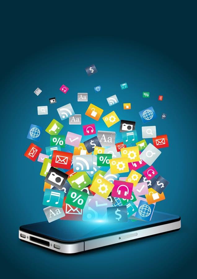 Telefone móvel com ícones coloridos da aplicação ilustração royalty free