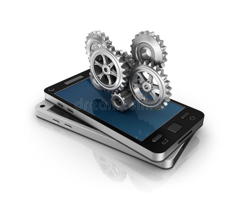 Telefone móvel e engrenagens. Conceito do desenvolvimento de aplicações. ilustração royalty free