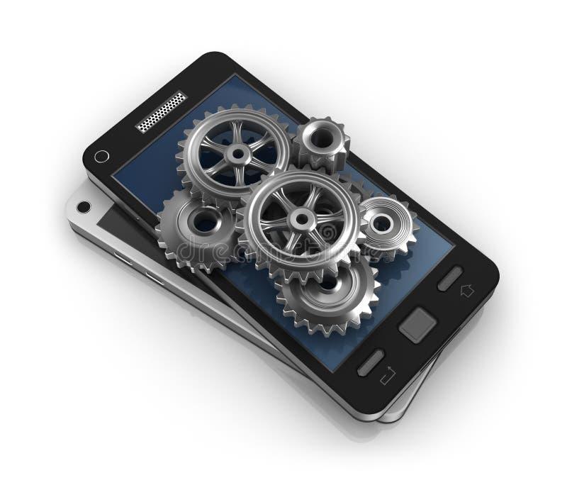 Telefone móvel e engrenagens Conceito do desenvolvimento de aplicações ilustração royalty free