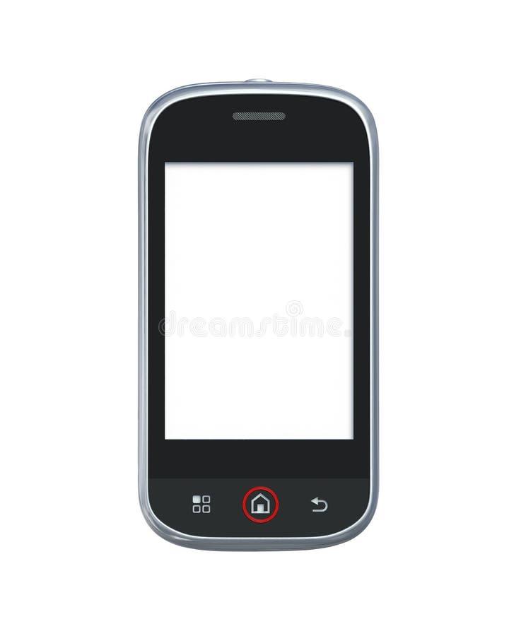Telefone móvel isolado no branco com trajeto de grampeamento ilustração stock