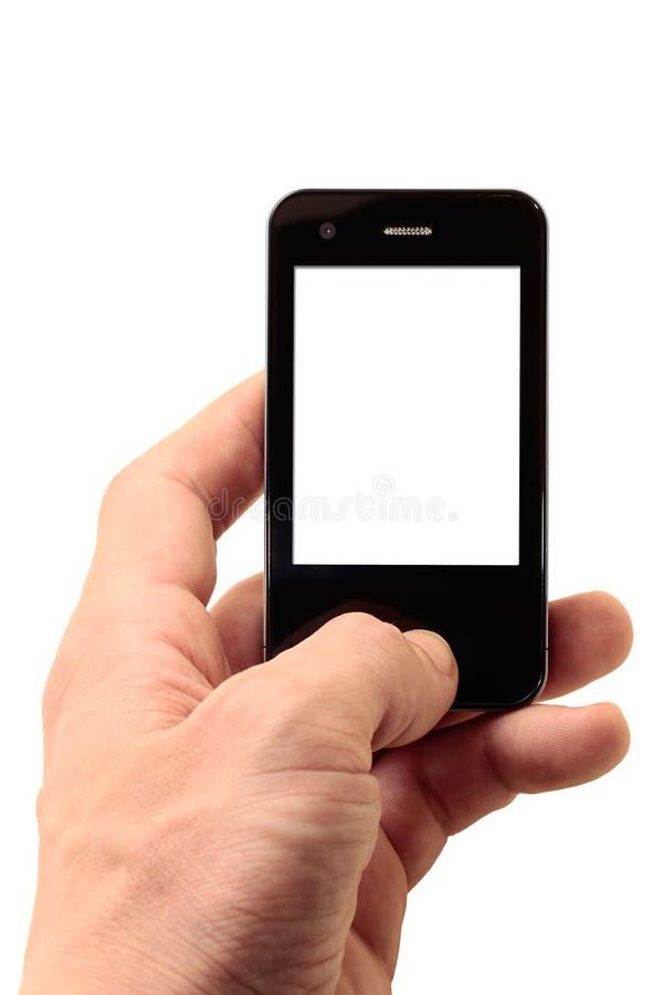 Telefone móvel na mão esquerda imagens de stock royalty free