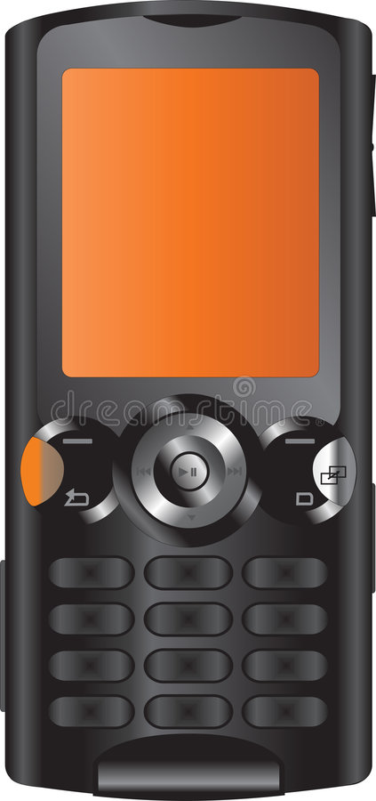 Telefone móvel preto e alaranjado imagem de stock