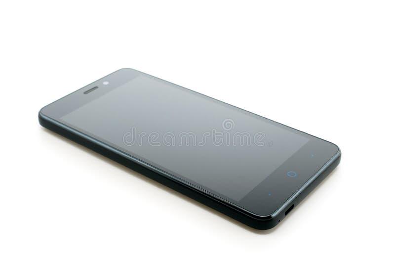 Telefone móvel preto no branco fotografia de stock royalty free